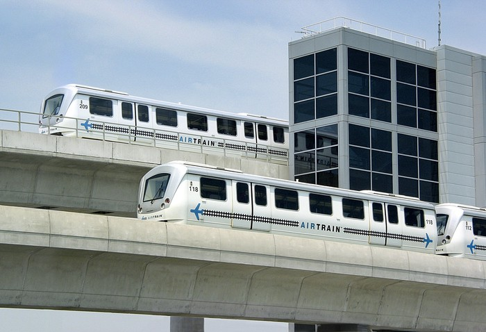 Bombardier built AirTrain cars in service in New York City.