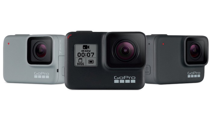 Image of three GoPro HERO7 cameras.