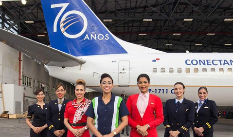 Copa crew standing in front of airplane IS Copa Airlines