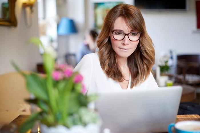 Woman at laptop.