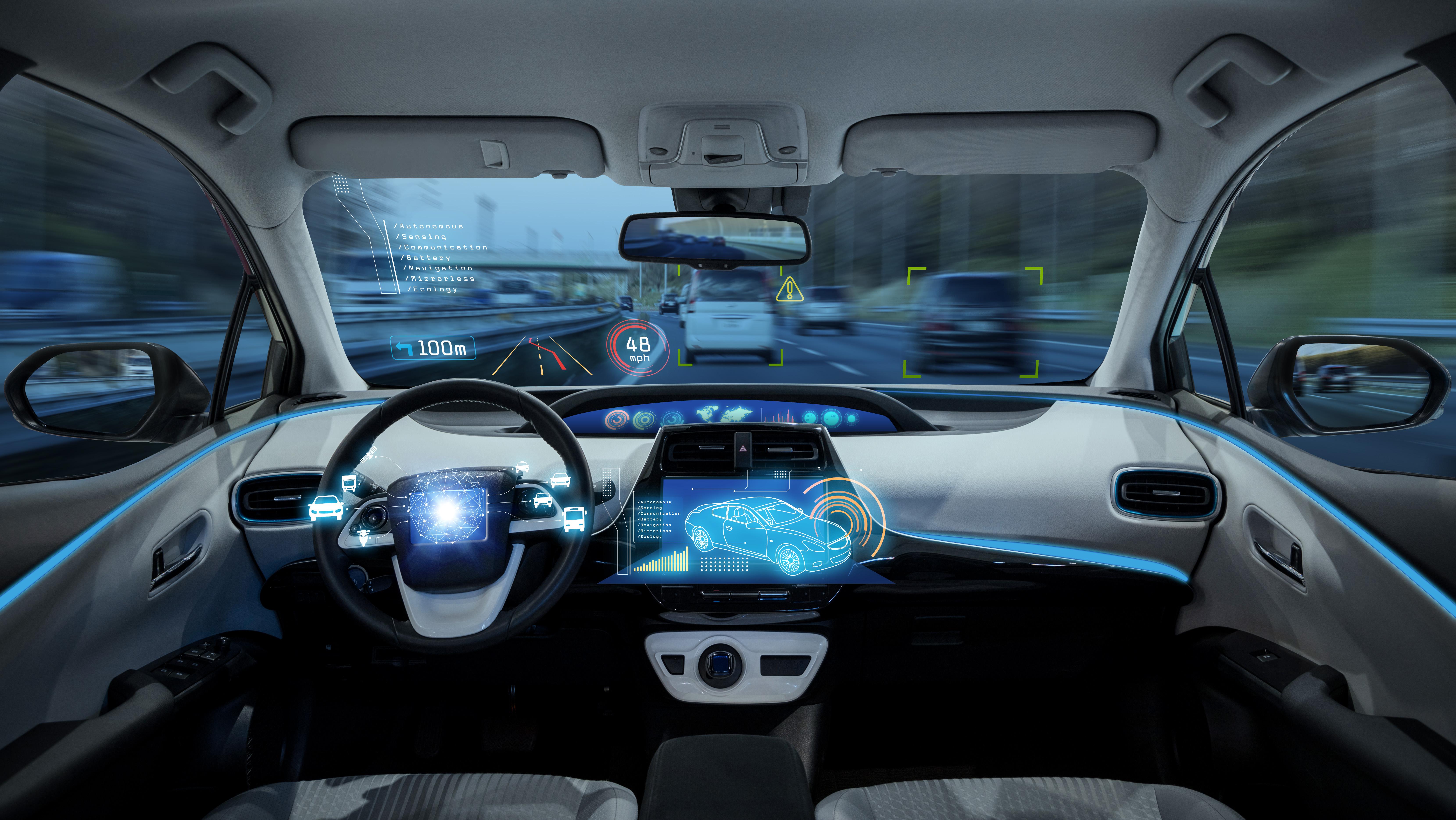 Inside of a driverless car cockpit.