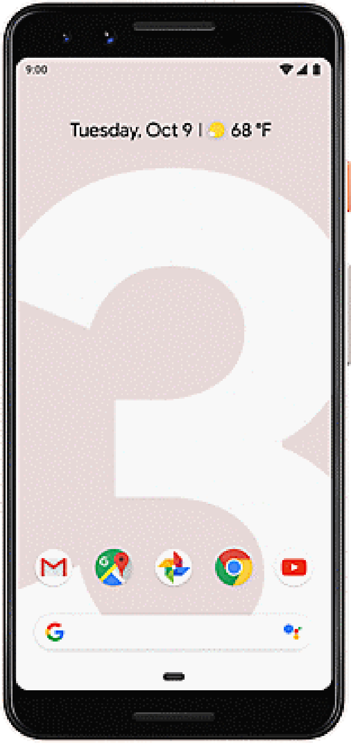The Pixel 3 displayed in black.