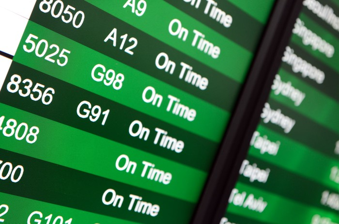 Part of a green departures or arrivals board at an airport is shown, listing all flights as on time.