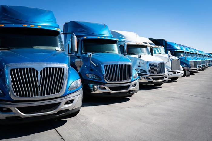 A lineup of heavy-duty trucks.