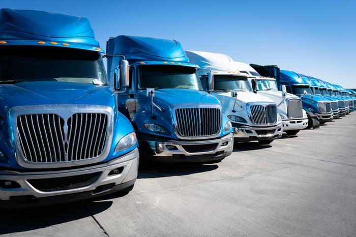 A lineup of heavy-duty trucks.