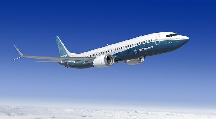 Boeing 737 MAX 8 in flight.