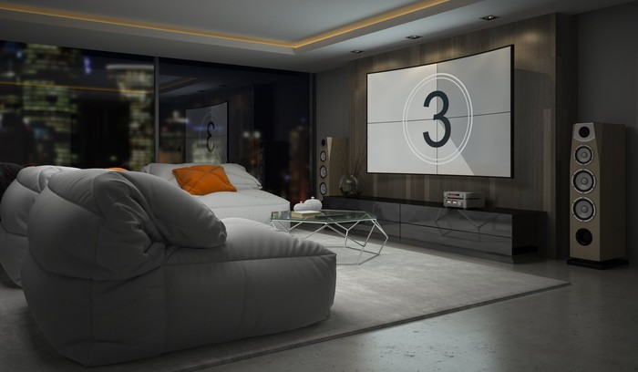 Living room with a home theatre setup