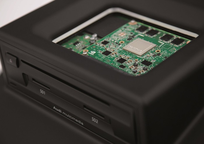 NVIDIA chip featured prominently on motherboard in an electronic device.