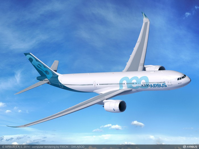 A rendering of an Airbus A330-900neo in flight