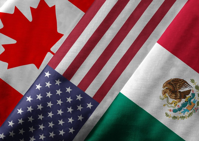 The Canadian, U.S., and Mexican flag in a row.