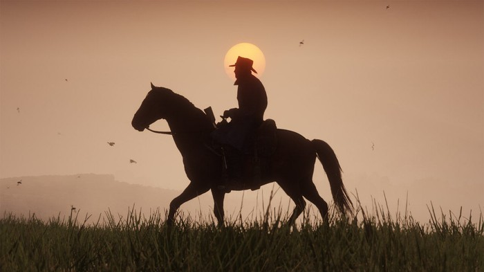 Screenshot of Red Dead Redemption 2 depicting a cowboy riding a horse in the open country against setting sun in the background.