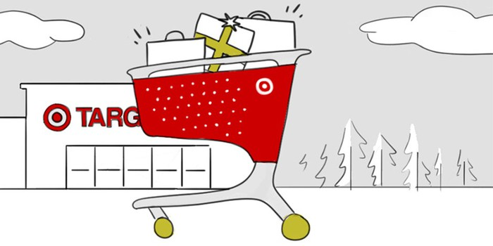 A drawing showing a Target shopping cart in front of a Target store
