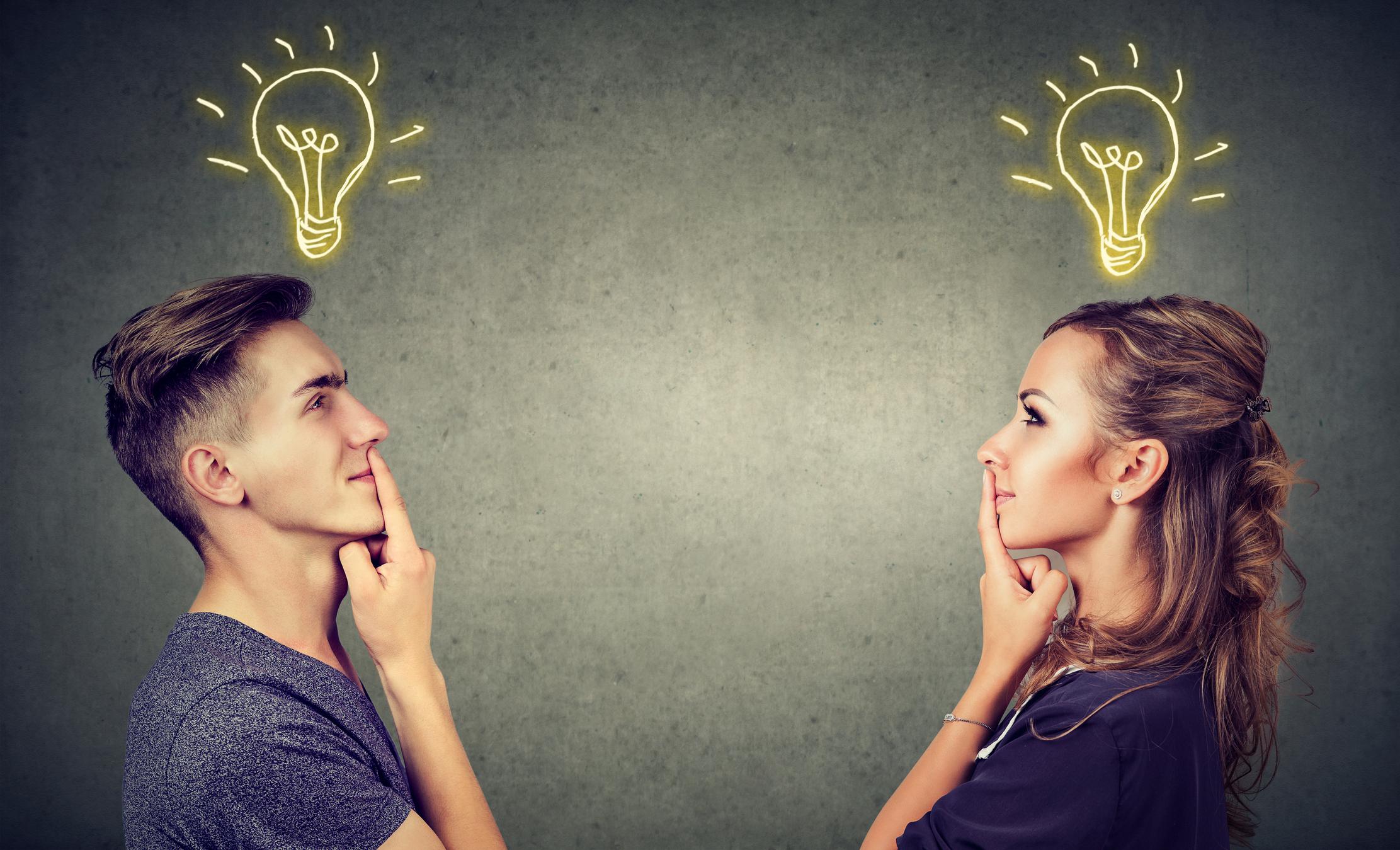 man and woman with an idea bulb