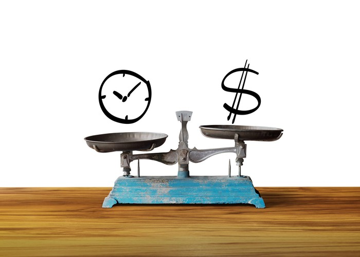A balance scale with a clock on one side and a dollar sign on the other side.