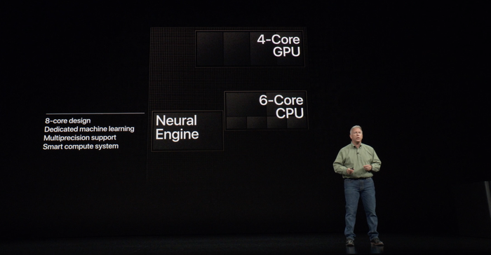 Phil Schiller speaking on stage about the A12 Bionic