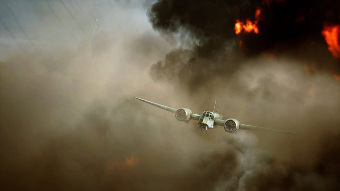 A screenshot from Battlefield 5. A plane is emerging from a cloud of smoke.