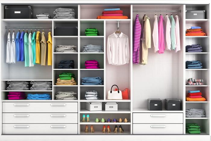 A closet full of clothes.