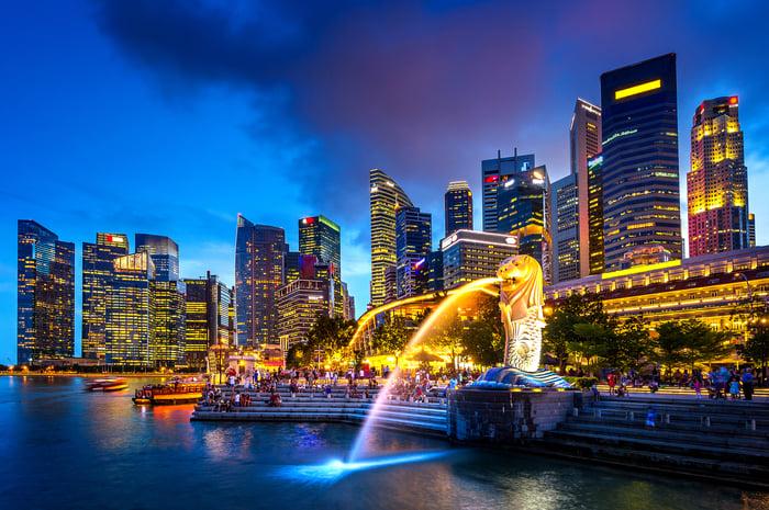 Singapore's skyline at night.