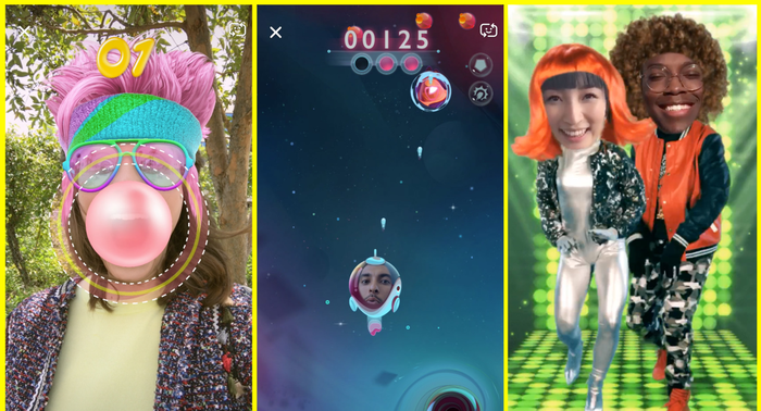 Images from Snap's Snappable AR games.