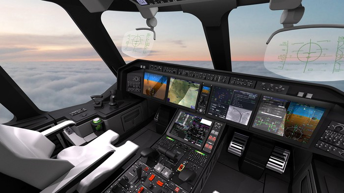Cockpit of large aircraft showing glass-display avionics systems and a sunset with undercast skies.