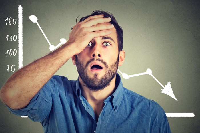 A man with a shocked expression holds his hand on his head as he stands in front of a falling stock chart.