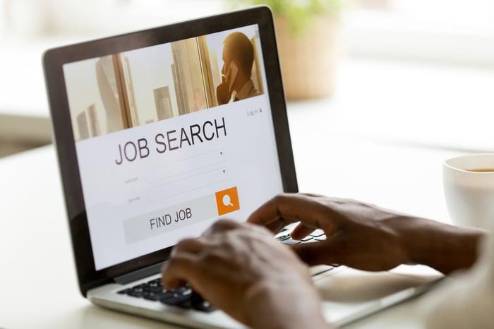 A person visits a job search website.