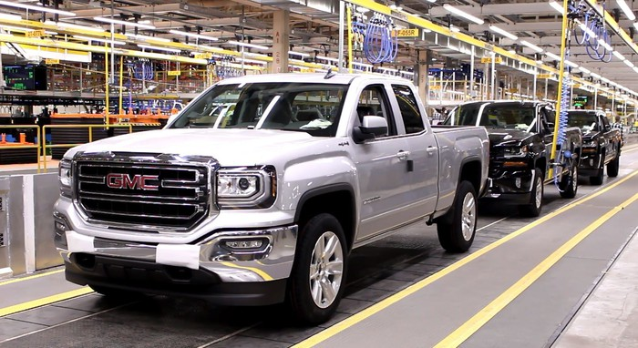 GMC Sierra pickups move down an assembly line at GM's Oshawa Assembly Plant in Oshawa, Ontario, Canada.