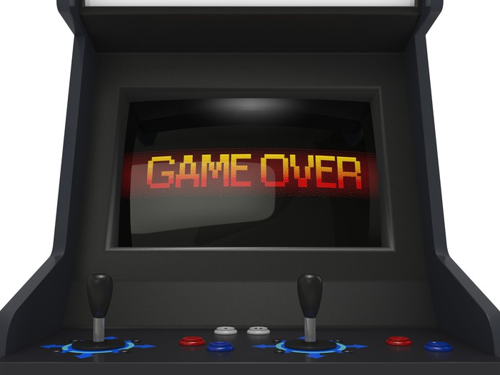 """Arcade console displaying """"GAME OVER"""""""