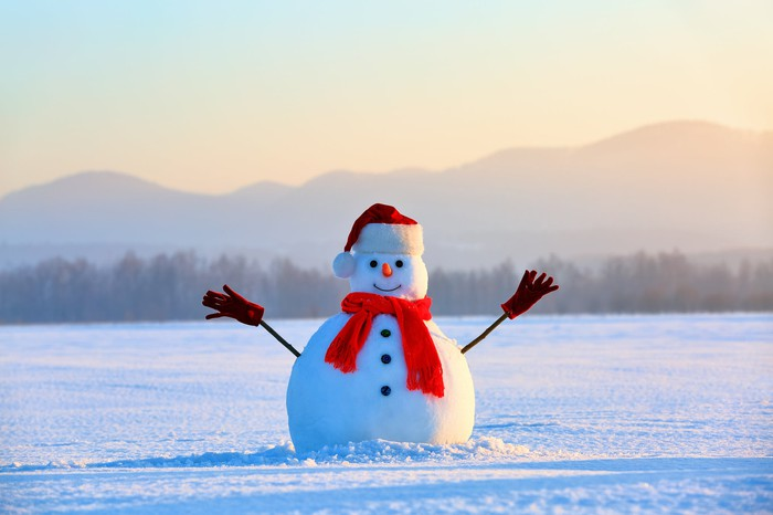 Snowman with winter background.