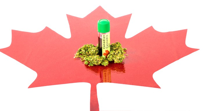 Marijuana buds and cannabis oil bottle on top of a red Canadian maple leaf cut-out.