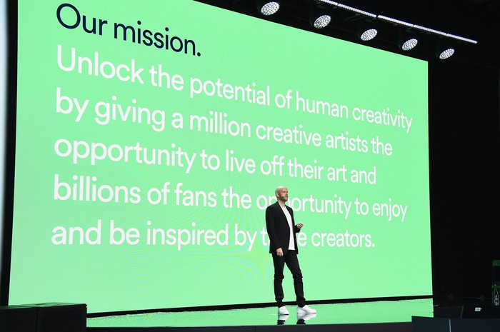CEO Daniel Ek speaking on stage