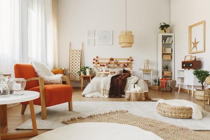 A modern furnished bedroom.