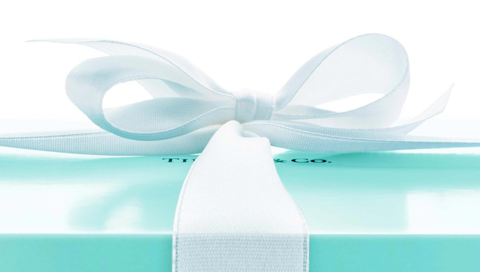 Trademark blue Tiffany & Co. box with white ribbon.