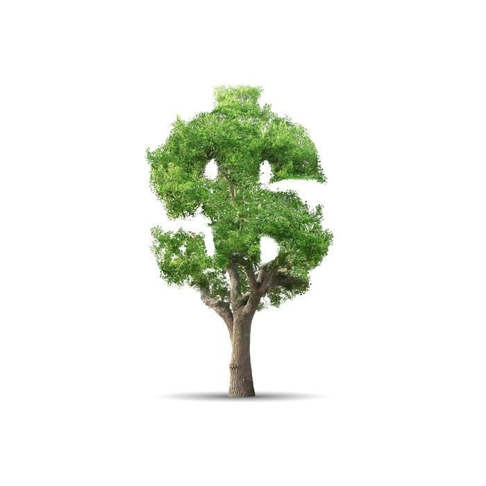 A green tree shaped as a dollar sign.