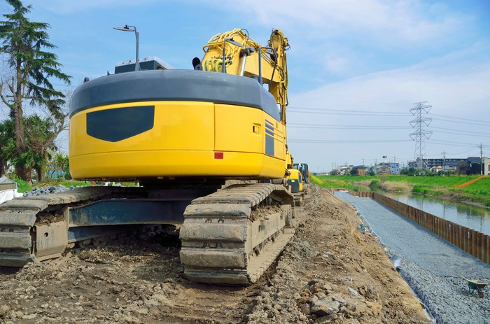 Tracked construction equipment.
