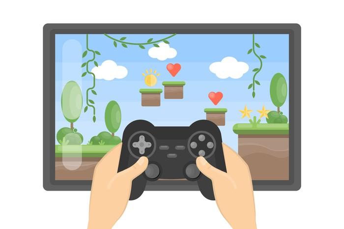 An illustration of a person playing video games.