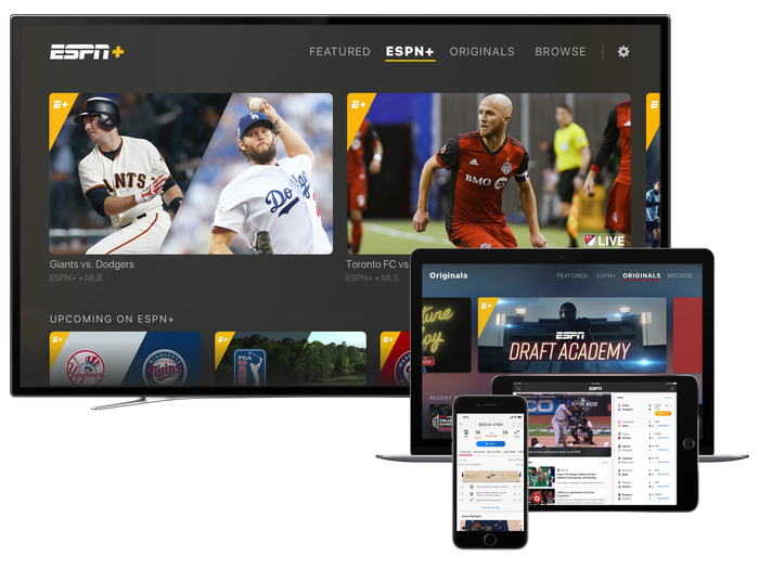 Disney's ESPN+ streaming on a television, laptop, tablet, and smartphone.