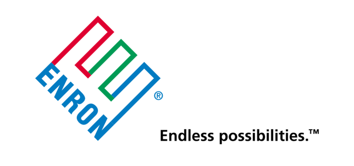 Multicolored E pointing diagonally upward, along with word Enron and slogan.