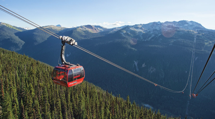 Red gondola above a forested mountain spanning across a valley to a snow-capped range.