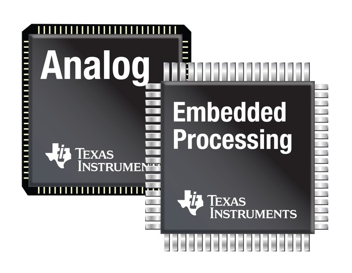 Drawings of Texas Instruments analog and embedded processing chips.