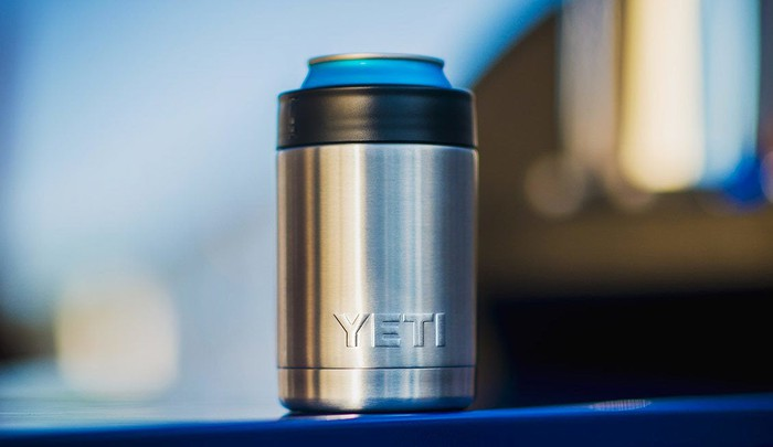 "Product image of Yeti stainless steel ""Rambler Colster"" can and bottle insulator."
