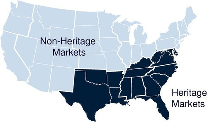 """Map of U.S. showing Yeti's """"Heritage"""" markets in the southeastern United States, versus """"Non-Heritage"""" markets (remainder of map)."""