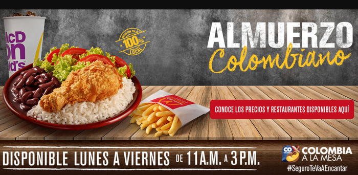 McDonald's Colombia product picture of plate of fried chicken, black beans, and salad, and McDonald's fries.