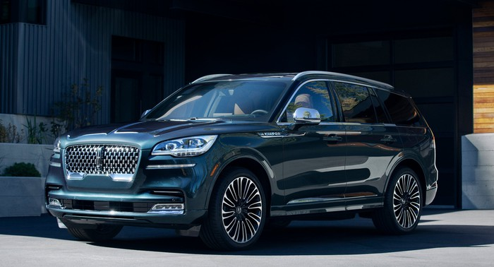 A dark blue 2019 Lincoln Aviator, a midsize luxury crossover SUV.