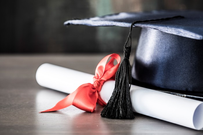 A graduation cap sits upside down next to a diploma tied with a red ribbon.