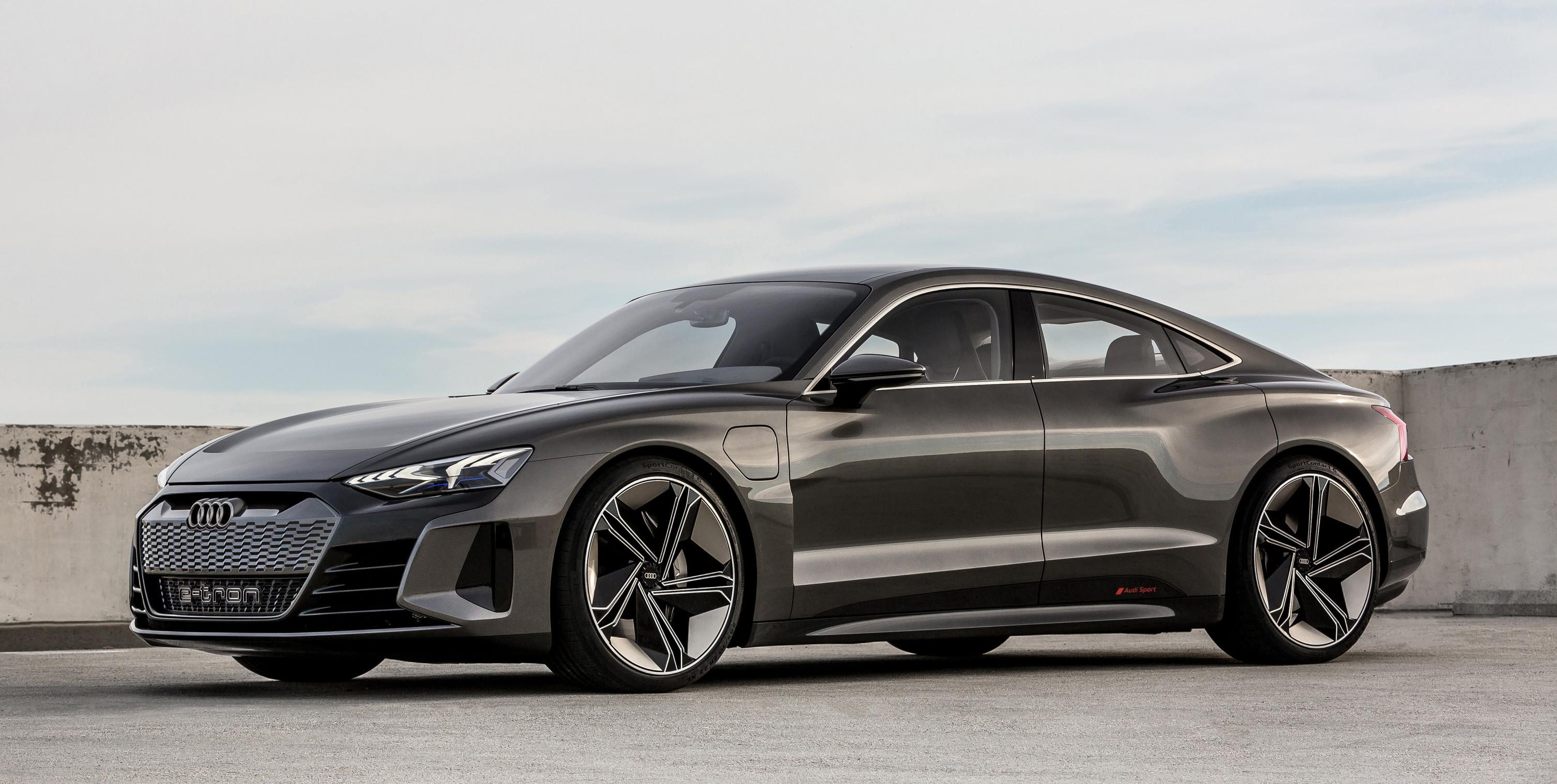 The Audi e-tron GT concept, a low-slung coupe similar to Audi's A7.