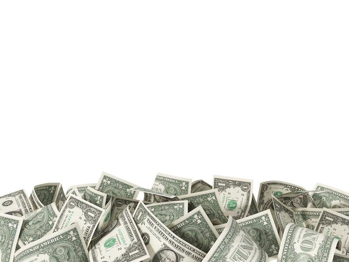 Pile of one-dollar bills