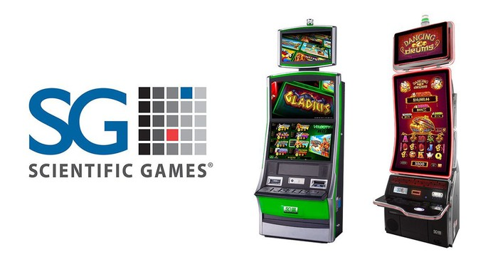 The Scientific Games logo next to two slot machine games.