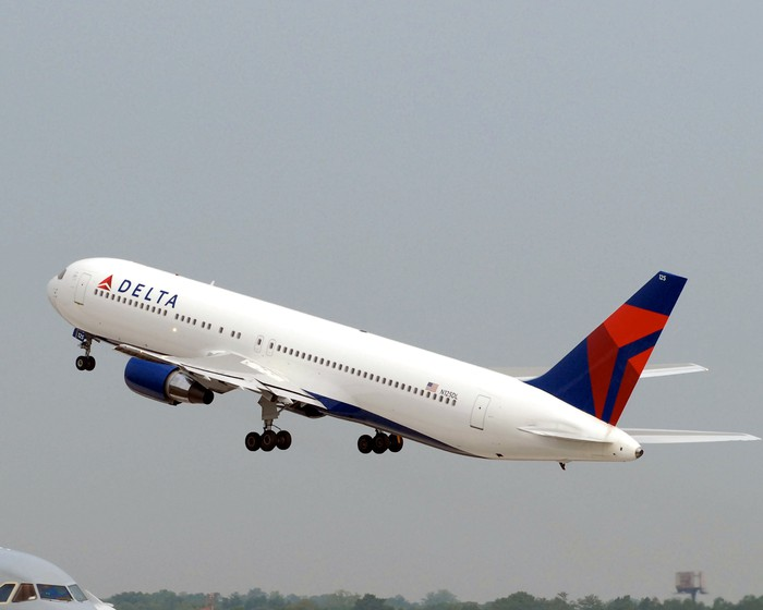 A Delta Air Lines plane taking off.