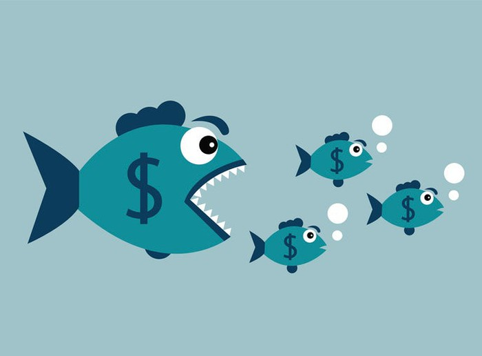 An open-mouthed big fish with a dollar sign on it swimming after three smaller fishes with dollar signs.